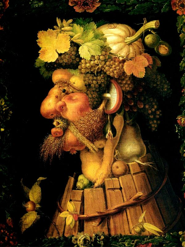 """L'artiste italien Giuseppe Arcimboldo peignait ses portraits en juxtaposant des fruits et légumes. Sa première série pour le Saint-Empire au XVème siècle s'intitulait """"Les quatre saisons"""". Ici il s'agit de l'Automne (1573), avec les fruits de la vigne emblématique de cette saison."""
