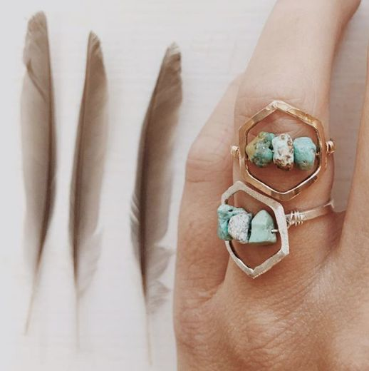 Hexagon Turquoise Ring   Mint Jewelry Co.