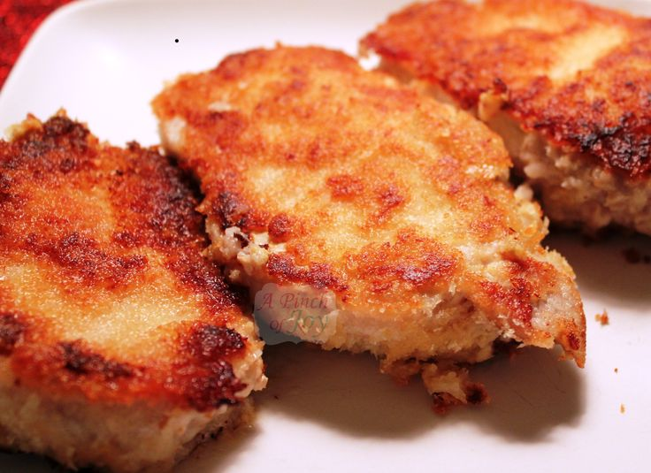 Wicked Good and Easy Pork Chops. Interesting name, eh? Honey mustard and bread crumbs. Salt and pepper and a little oil. They sound wicked:)