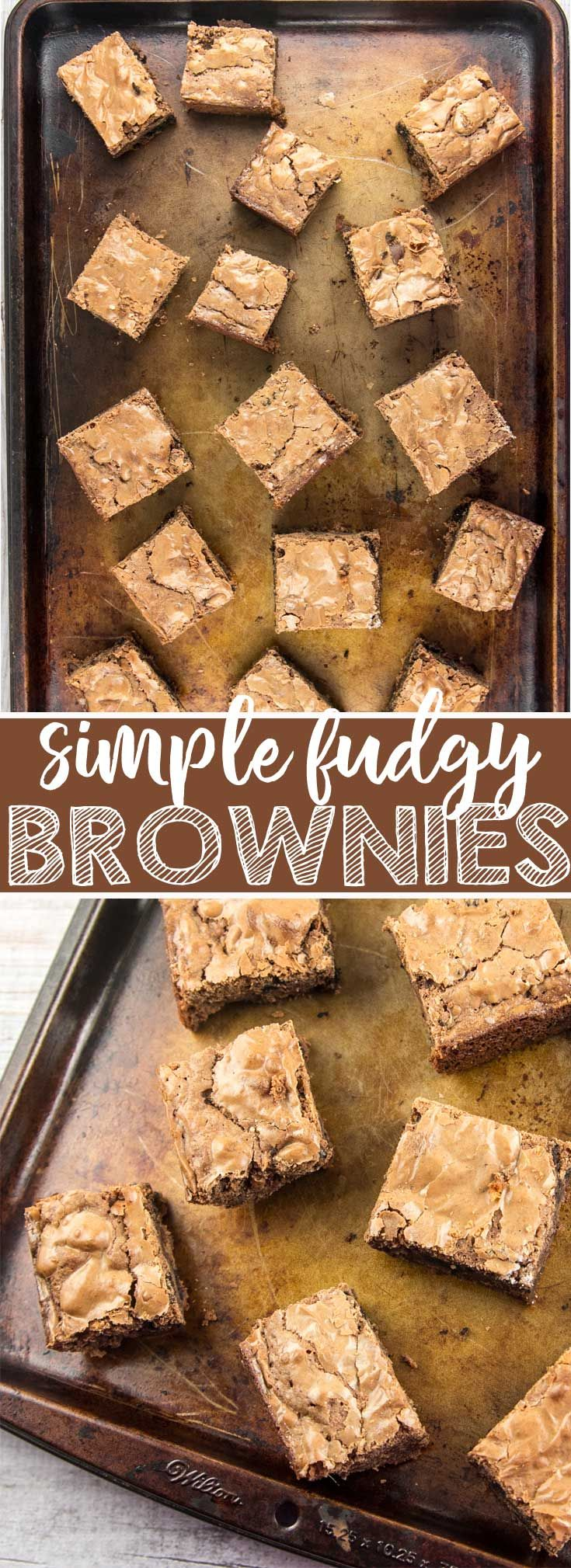 Simple and easy fudgy brownies, rich and dense yet cakey, mixed by hand with ingredients already in your kitchen. Better than boxed mix! {Bunsen Burner Bakery} via @bnsnbrnrbakery