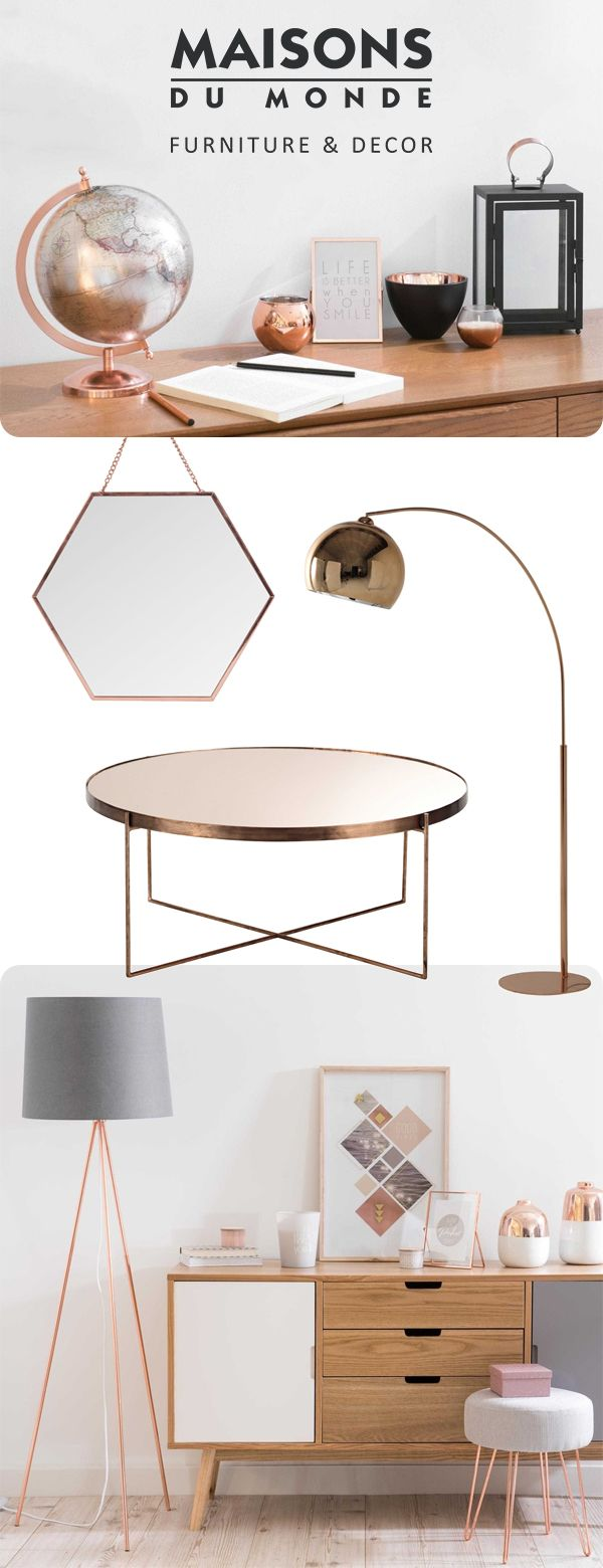 Colour Crush: Copper. As we continue to embrace the copper look, discover how you can use the material throughout your home to make a style statement and add warmth to your interior. Take a look at our favourite glowing copper picks | Maisons du Monde