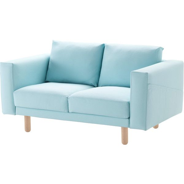 NORSBORG Two Seat Sofa Gräsbo Light Blue/birch ($395) ❤ Liked On