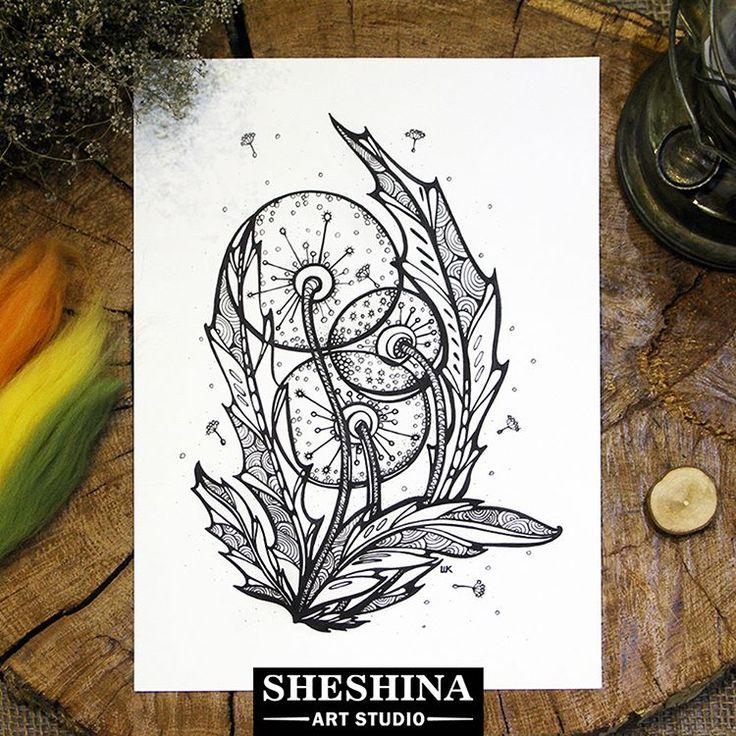 "🎨Шешина Екатерина Арт графика ""Одуванчики"" День 13.  #myartnovember #day13 #Шешина_Екатерина #sheshins_ekaterina #артграфика #графика #zenart #zengraphic #zendoodle #doodle #zentangle #abstactart #арт #lineart #scetch #inkart #flower #flowers #flowerart #nature #dandelion #одуванчик #drawing #draw #flower_sketch #blackwork"