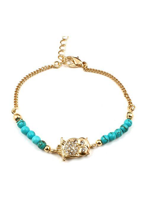 Owl Charm Bracelet in Turquoise on Emma Stine Limited