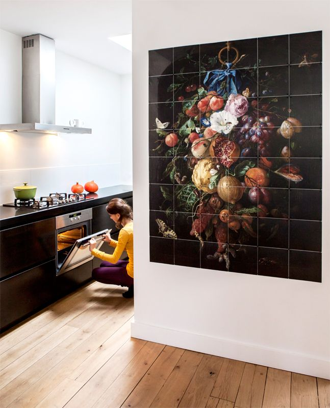 IXXI wall decoration made with a painting called 'Festoon of fruit and flowers', painted by De Heem. The IXXI in this example will cost $170.25 (120 x 160 cm). #ixxi #ixxidesign