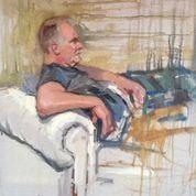 "Greg Davies (Oil on Canvas) 20"" x 24"" by Stewart Beckett; Cardiff, Wales heat. Sky Arts Portrait Artist of the Year 2014"