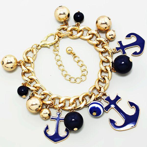 205297 / Gold ball Navy Anchor Bracelet