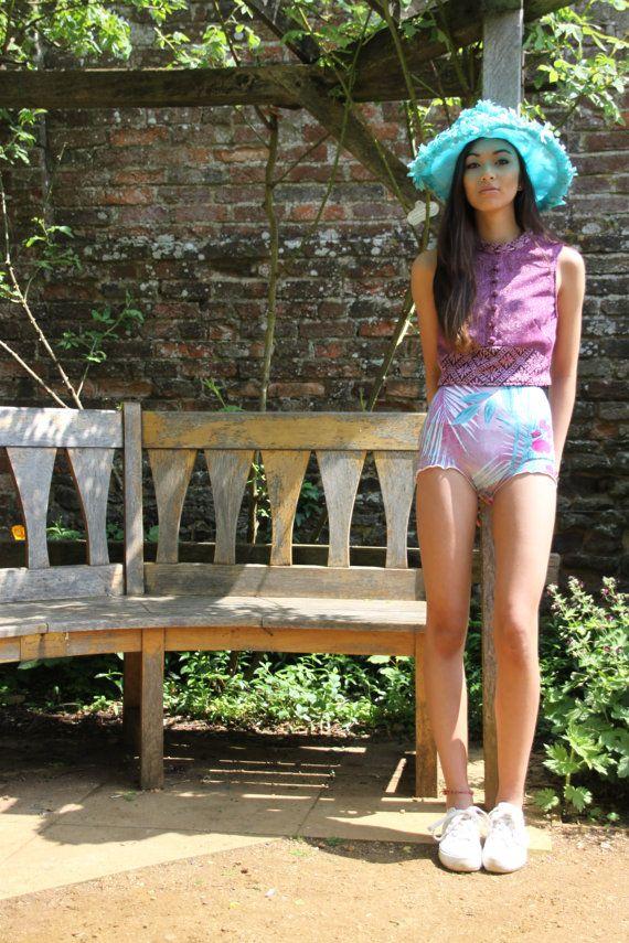 Tropical high waisted bikini shorts knicker shorts by BOODWAH