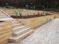 Retaining Wall Timber Maryknoll. Landscaper Pakenham - Ground Up Garden Renovators www.gardenrenovators.com.au