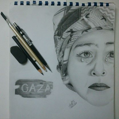 Gaza child - pencils