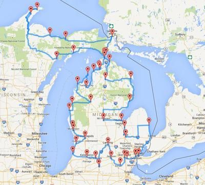 """Here's the """"optimized"""" road trip for MI. (But include Tequamanon Falls And Porcupine Mountain)"""