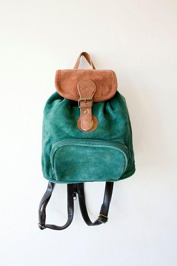 Vintage Grunge Revival Hunter Green Mini Backpack by sopasse, $35.00