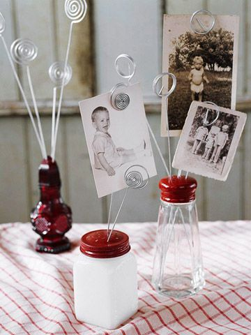 Give new life to odd-lot vintage or reproduction salt and pepper shakers. Coil strands of silver-colored wire and insert them into the shaker holes. Use the wires to showcase favorite holiday or old family photos.