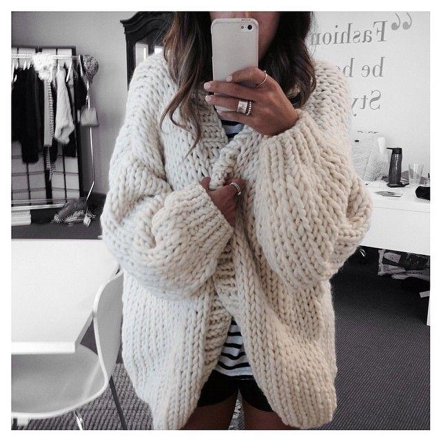 big cozy sweaters around the office, yum.