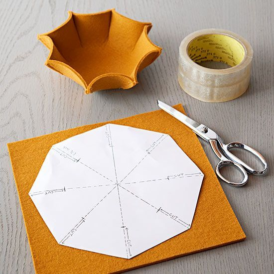 Necklaces look oh, so cute in an octogon bowl made of felt in fall colors. Pick a midweight 3-millimeter-thick felt and print the pattern, below. Cut and notch as guided (hint: Sharp scissors save headaches). Pinch the cut corners and sew a quick straight-stitch with matching thread./