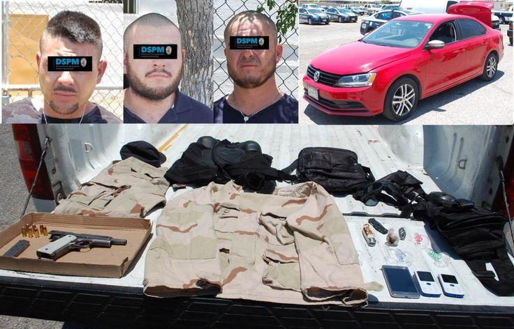 <p>*En el auto se les localizó equipo táctico y utensilios para el consumo de drogas.</p>  <p>Chihuahua, Chih.- En posesión