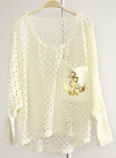 Beige Batwing Sleeve Anchor Print Pocket Hollow Sweater