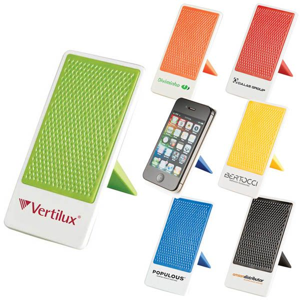 Cool smartphone/ipod holder for your desktop, imprinted with your logo!