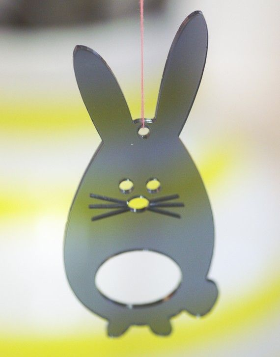 Easter Bunnies in grey transparent plexiglas by spagat on Etsy, $14.00