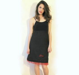Skirt Yuta Skirt in burlap of Yuta, hand-embroidered, with applications of leather cord, wool, black onyx little stones, glass application in the shape of an eye. Lined with red tulle. #madeinitaly #artigianato #gonna #skirt #yuta