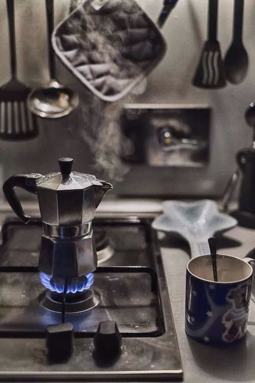 Morning rituals. This reminds me of Chile, where I had to brew all of my own espresso or settle for instant coffee.