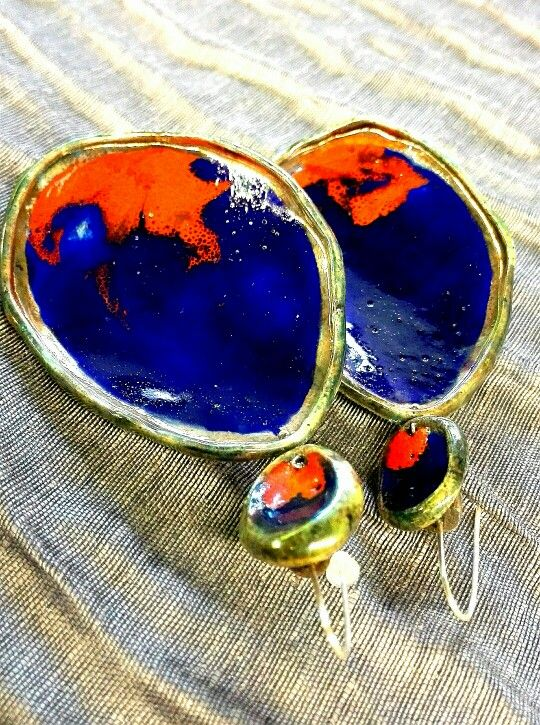 Ceramics Earrings Raku handmade in Italy VulcanicaGioielliMilano www.vulcanica-milano.it