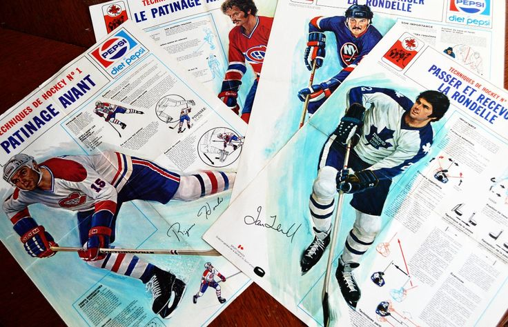 Sport Canada Hockey Skills Posters, Set of 4, French and English, Bryan Trottier, Larry Robinson, Ian Turnbull, Rejeane Houle, Pepsi Poster by Retrorrific on Etsy