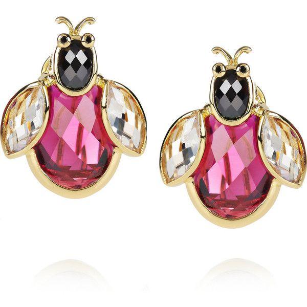 Kenneth Jay Lane 18-karat gold-plated cubic zirconia ladybug earrings ($280) ❤ liked on Polyvore