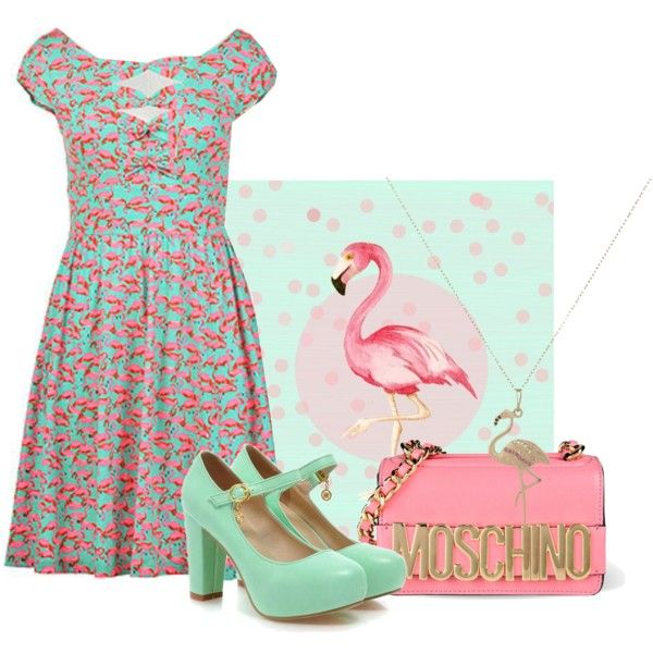 Flamingo in a flock of pigeons by eshakti on Polyvore featuring Moschino and Bianca Pratt