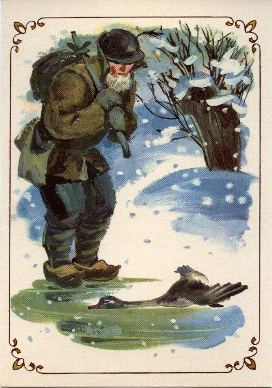 Рано утром мимо проходил крестьянин. Он увидел примерзшего ко льду утенка, разбил лед своим деревянным башмаком и отнес полумертвую птицу домой к жене. Утенка отогрели.