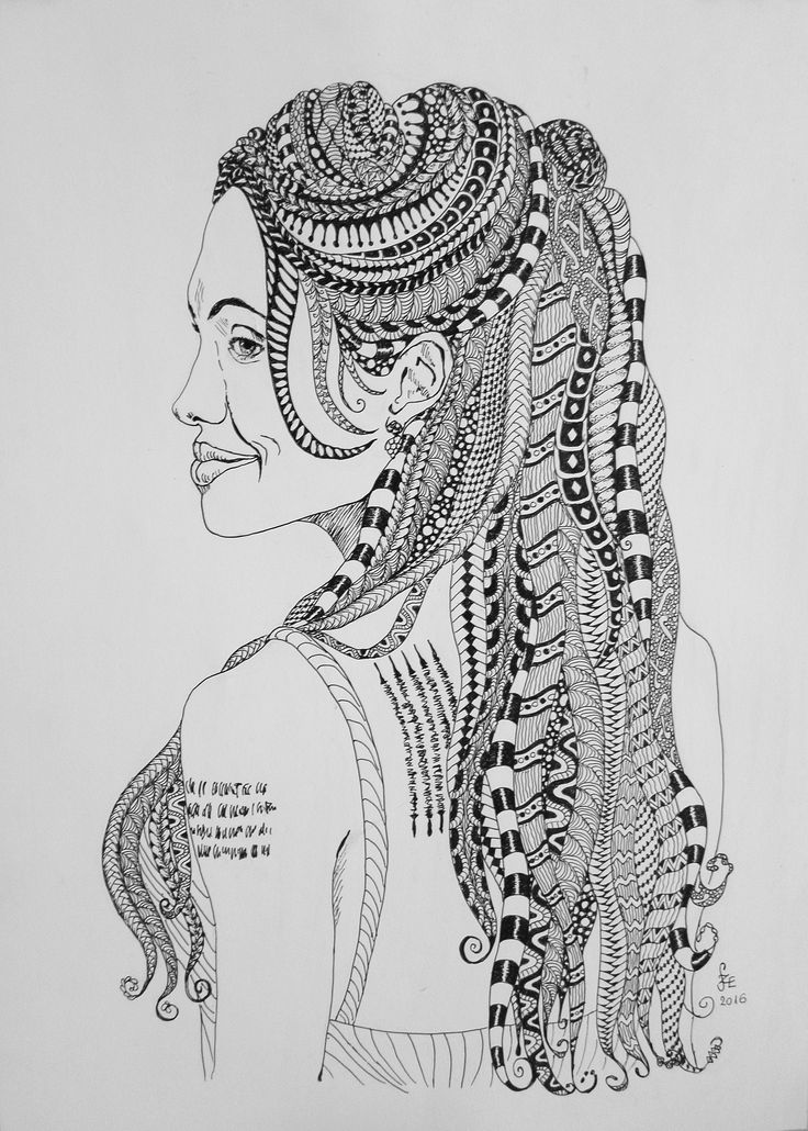 Angelina Jolie portrait in Zentangle stile, by Erika Székesvári. https://www.facebook.com/ercziart/