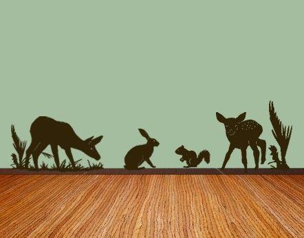 Cute Cricut vinyl idea.  Forest theme Nursery Vinyl Wall Art Decal Free by MommyofTyDesigns, $40.00