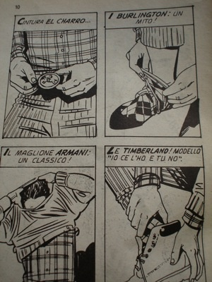 Paninaro, pagina del fumetto originale  #paninari