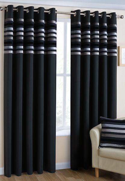 Brooklyn Black  Eyelet Curtains