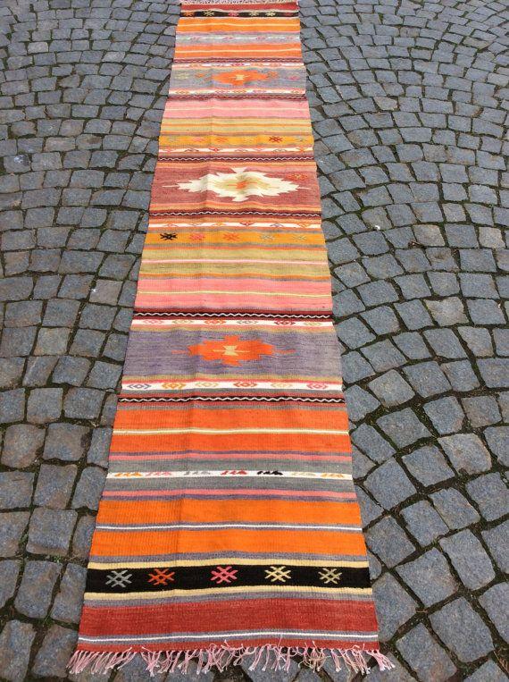 Kilim Runner rug, Long Turkish kilim rug with pastel Stripes, 9,7' x 2' Floor runner, Organic Tribal carpet, Bohemian Ethnic carpet