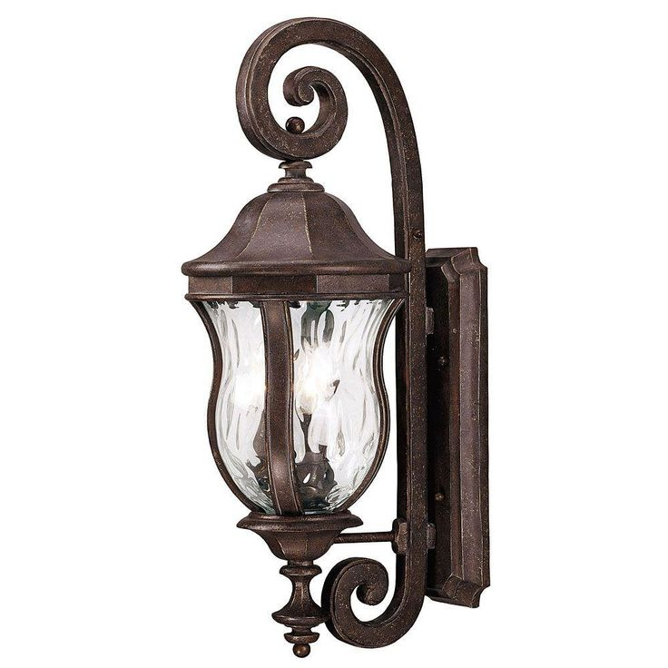 Illumine 3-Light Walnut Patina Outdoor Wall Lantern Sconce with Clear Watered Glass-CLI-SH202851645