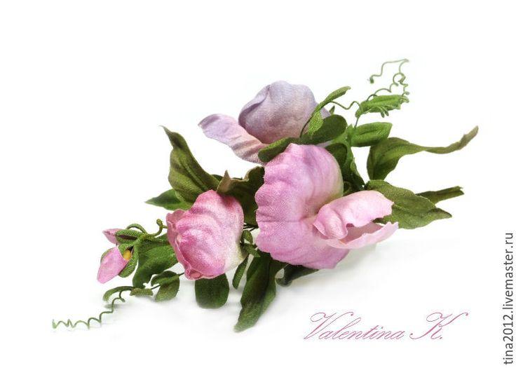 Купить Душистый горошек - сиреневый, цветы ручной работы, душистый горошек, цветы из ткани