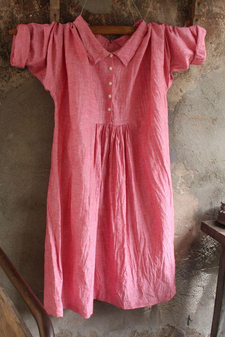 Stone washed red linen dress MegbyDesign