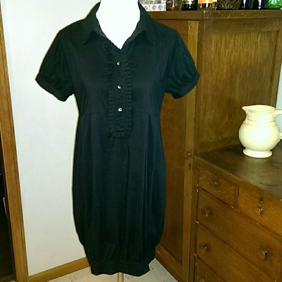 """Great Shirt Dress Black empire waist shirt dress with ruffled button up bodice. Balloon skirt with banded hem and short cap sleeve button sleeves. 35"""" total length. Cotton, nylon, spandex blend. Gently used but no rips, tears, or stains. Very wearable. Old Navy Dresses"""