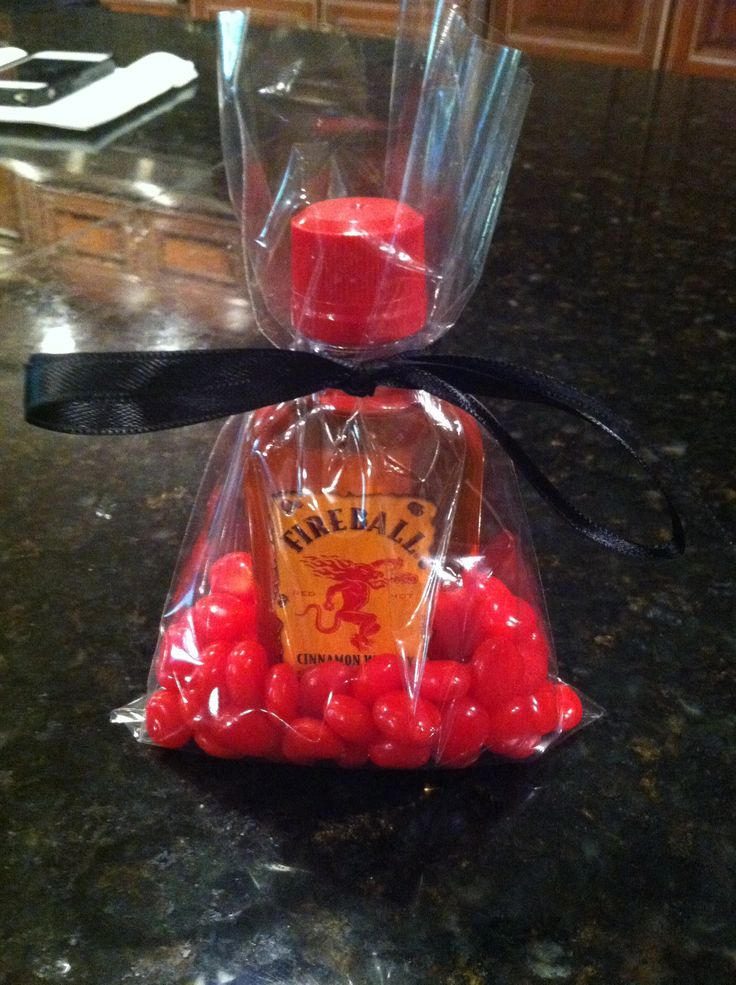 Favors for dads 50th birthday. Fireball and Red Hots!