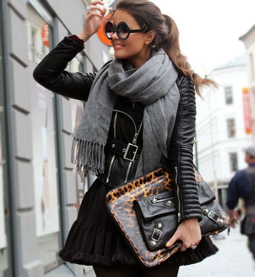 love the scarf. Fall Street Style.
