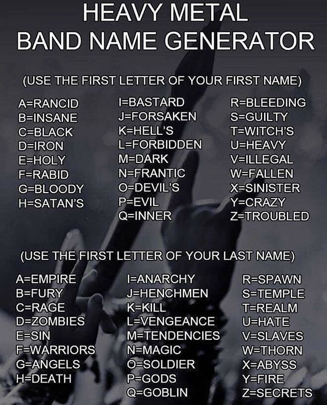 Lets Play A Game Take A Look At The Image And Tell Me What Your Heavy Metal Band Name Is Go Band Name Generator Heavy Metal Bands Band Names Ideas
