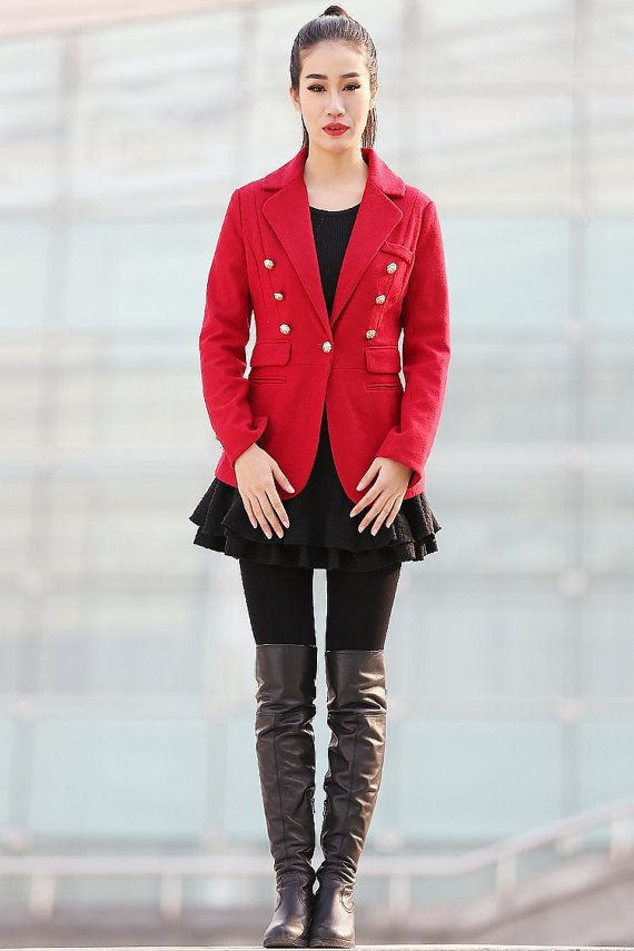 wool women red Short Coats-CF082 by YL1dress on Etsy