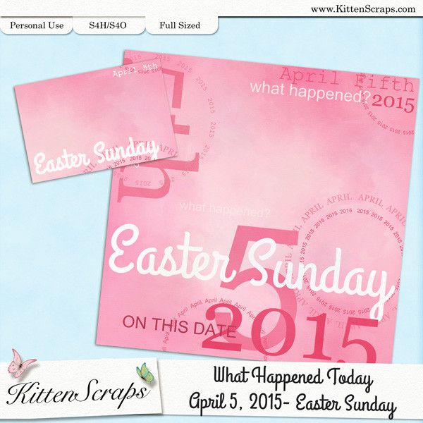 Paper created for today, Easter Sunday, April 5th,  2015, by KittenScraps. Digital Scrapbooking Freebie