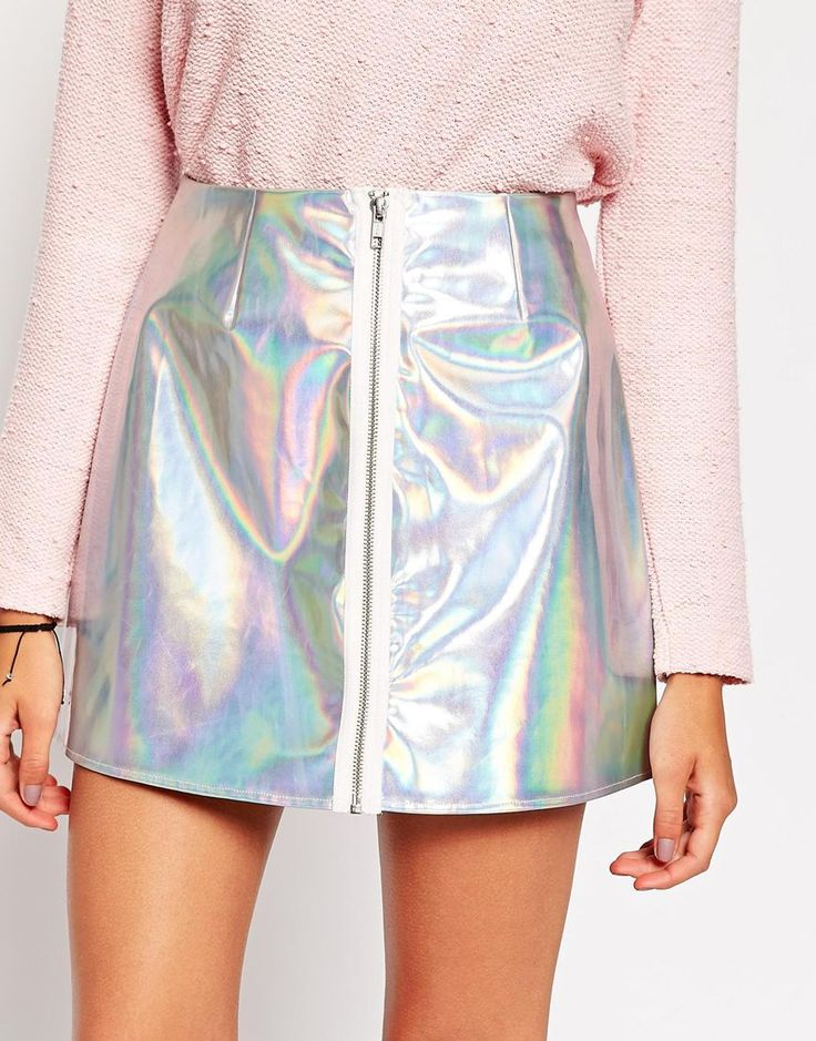 Image 3 ofASOS Holographic Mini Skirt with Zip Front