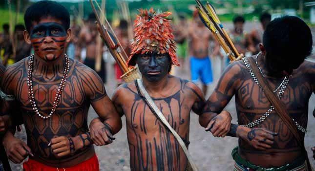 Kuikuro, tribo, guerreiros, dança, chuva, em, a, superior