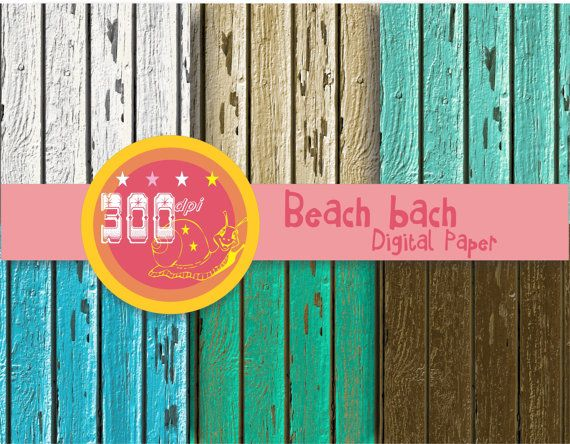 Wood digital paper timber 'Beach bach' old cracked distressed wood backgrounds by GemmedSnail, $2.00