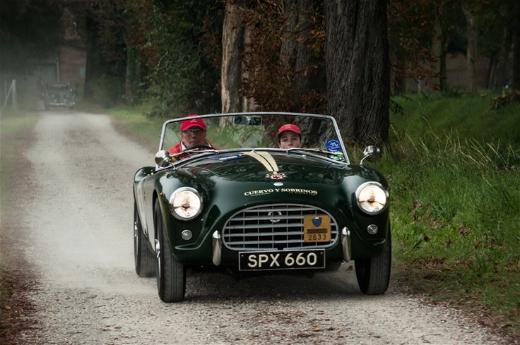 Mr. Villa, owner of Cuervo y Sobrinos, and his young co-pilot Barbara Villa, driving an AC ACE 1955. Nuvolari Grand Prix, September 19-21, 2014.