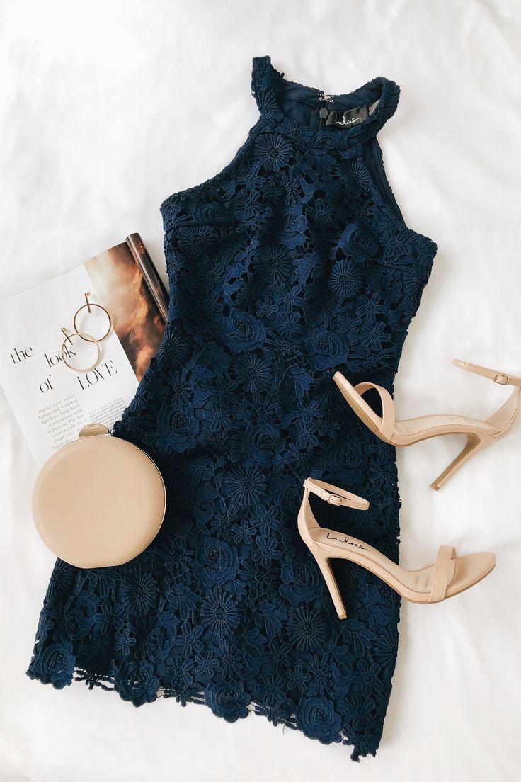 Lulus | Love Poem Navy Blue Lace Dress | Size Large | 100% Polyester