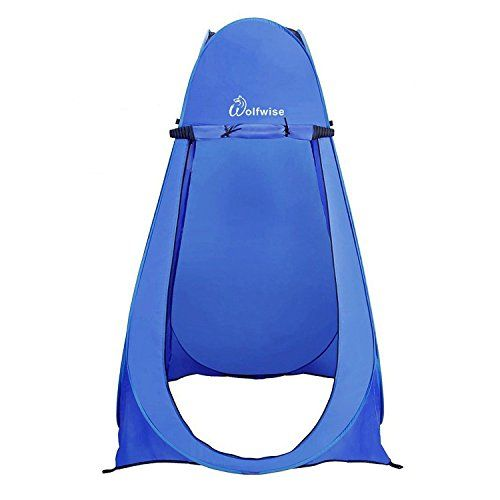 WolfWise Pop-up Shower Tent (Blue). For product & price info go to:  https://all4hiking.com/products/wolfwise-pop-up-shower-tent-blue/